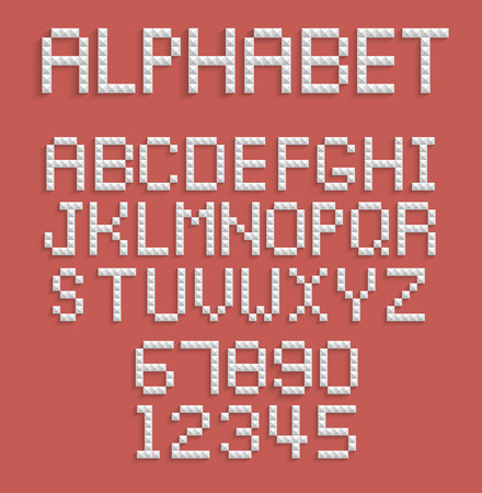 Pixel alphabet of numbers and letters Vector