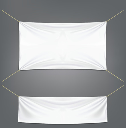 tela algodon: Banderas blancas con ligas Vectores