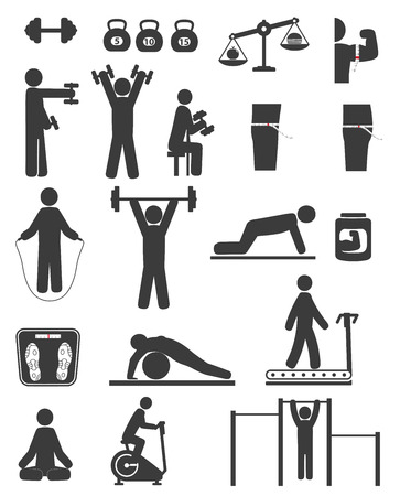 exercise silhouette: Sports and fitness icons of black color on white background
