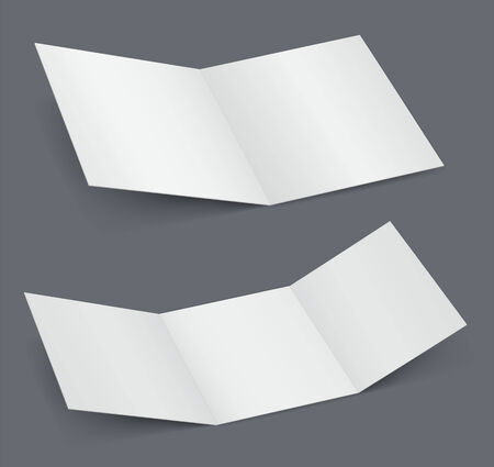doubled: Empty open white brochure, doubled and tripled the booklet Illustration