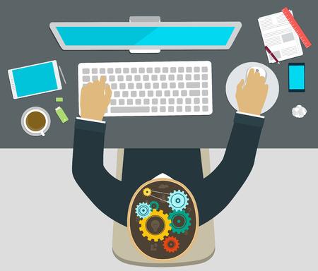 컴퓨터에서 일하는 직장에서 사람을 브레인 스토밍