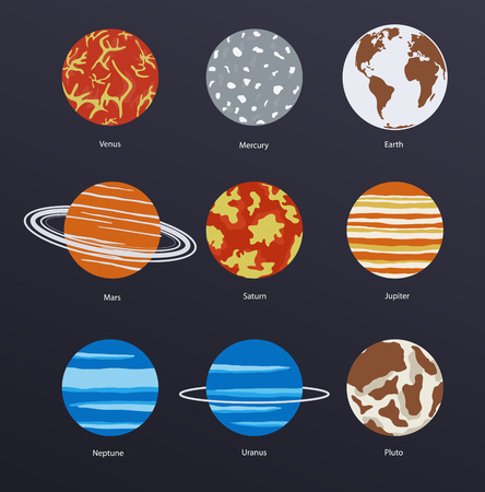 Planets icons on dark background Vector