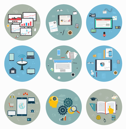 workspace: Flat icons for web and mobile, business strategy, concept mobile applications, journalism, workspace