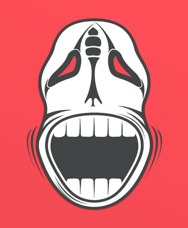 catrina: Skull on red background