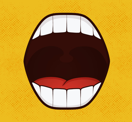Smile pop art style on yellow background Vectores