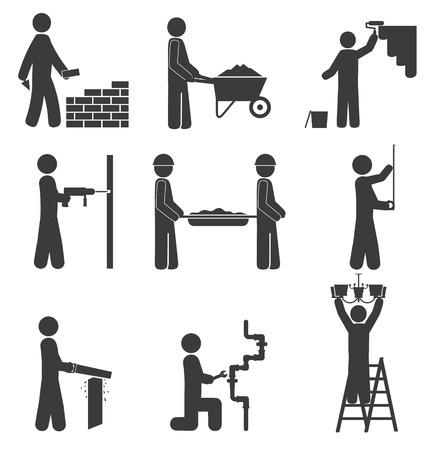 obrero: Iconos de la construcción, renovación, fontanería