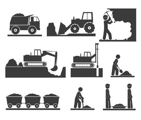 excavating machine: Ñonstruction earthworks icons mining and quarrying