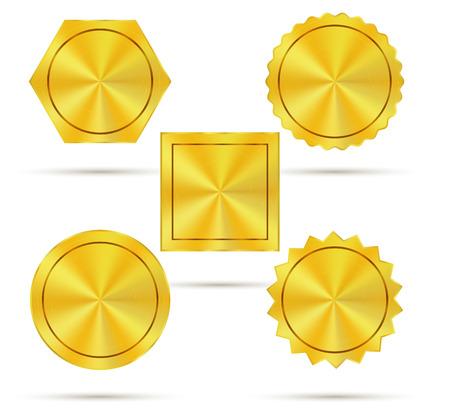 Empty golden metal badges Vector