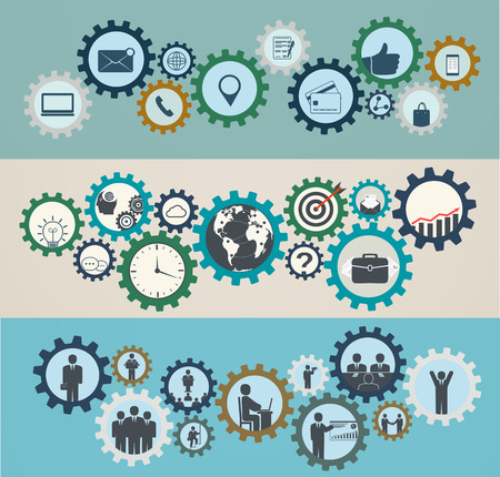 organization design: Concept of mechanisms with business icons, workforce, team working, business people in motion, motivation for success.