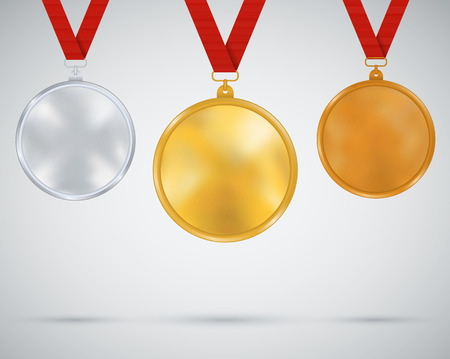 gold record: Set of medals, gold, silver, bronze