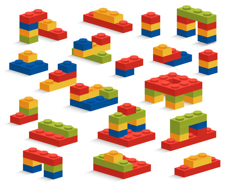 mattoncini: Set di diversi pezzi di plastica o di costruzione