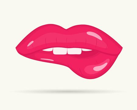indeciso: El labio de la Mujer en el fondo blanco