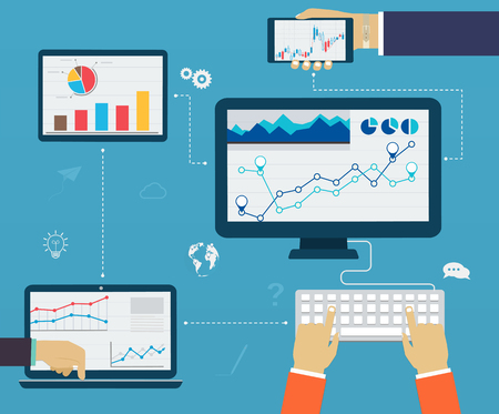 estad�stica: Infograf�a de negocio mediante el uso moderno de los dispositivos digitales, informes, tablas y gr�ficos estad�sticos