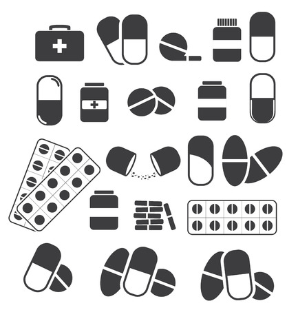 ampule: Medicines and tablets, pills capsules medical. Vector set of black icons
