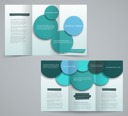 Three fold business brochure template, corporate flyer or cover design in blue and green tones