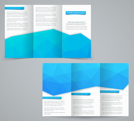 Three fold business brochure template with triangles, corporate flyer or cover design in blue  tones Vector