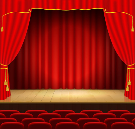 recital: Theater stage with red curtain
