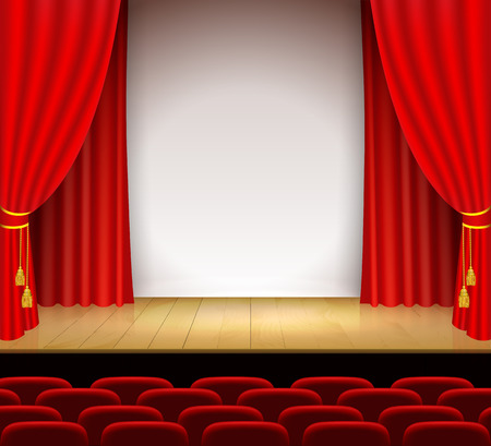recital: Theatrical scene with white a stand and red curtain