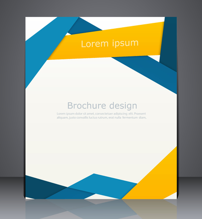 brochure design: Vector layout business brochures, magazine cover, or corporate design template advertisment in blue and yellow colors