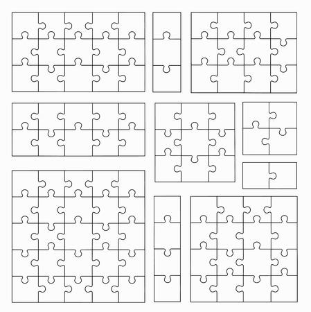 직소 퍼즐은 흰색 배경에 서식 파일. 퍼즐 조각 세트