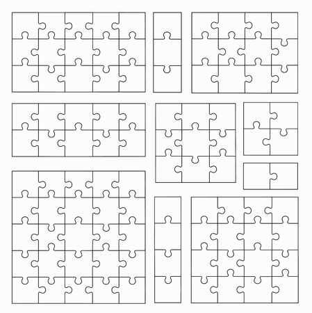 Jigsaw Puzzle Templates on White Background. Set of Puzzle  Pieces Illustration