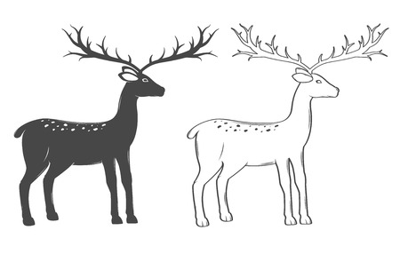 running reindeer: Christmas reindeer, set on white background