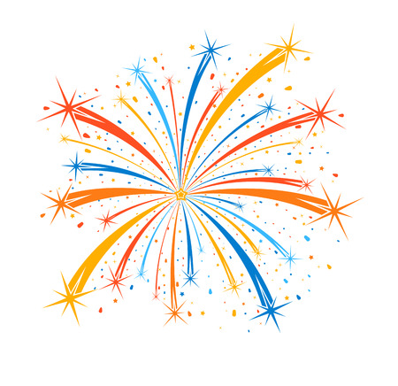 Colorful firework on white background Vectores