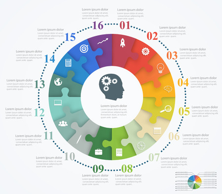 brain work: Parts puzzles in the form of a circle of the 16 pieces. Template design infographic banner, presentation, education, web and mobile apps