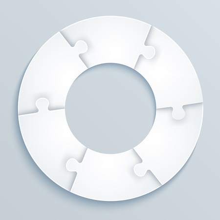 piezas de rompecabezas: Piezas de rompecabezas de papel en forma de un c�rculo de 6 piezas Vectores