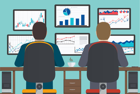 medios de comunicaci�n social: Estaci�n de trabajo, an�lisis web, la informaci�n y el desarrollo, la estad�stica de negocio. Vectores