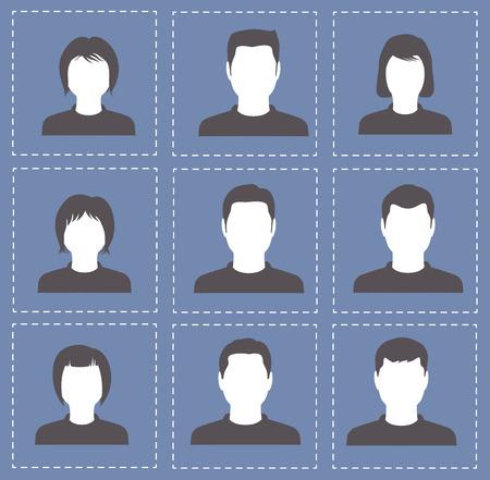 profil: osób profil sylwetki kobiet i mężczyzn w kolorze białym z ciemnego koloru Ilustracja