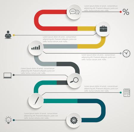 Weg infographic timeline met pictogrammen