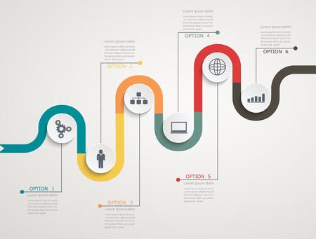 estructura: Camino cronograma infograf�a con los iconos, la estructura escalonada