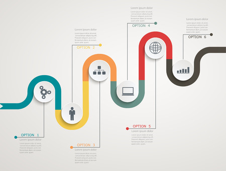 road line: Road infographic timeline with icons, stepwise structure