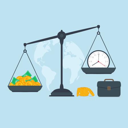 concepto equilibrio: Tiempo y dinero en escalas, el �xito empresarial Vectores