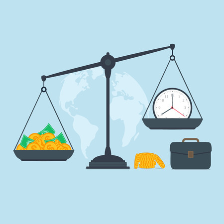 business symbols and metaphors: Time and money on scales, business success Illustration