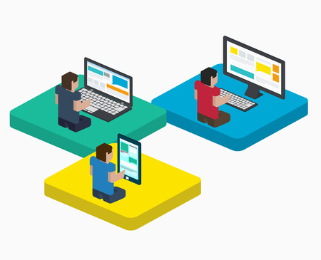 pixelart: People work on digital devices in web, design in flat isometric style, communication in the Internet on a laptop, phone and PC.