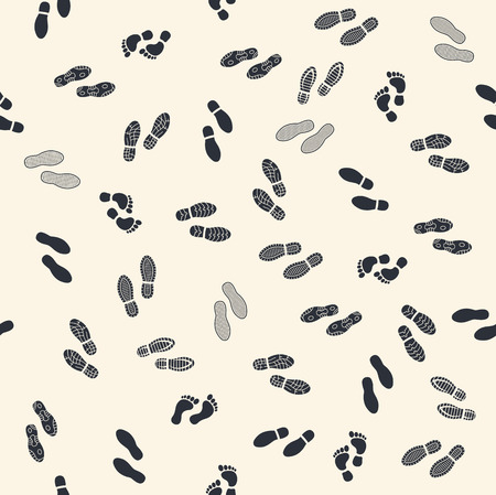 footprints in sand: Seamless background with human footprints