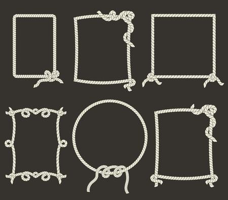 黒の背景に装飾的なロープ フレーム  イラスト・ベクター素材