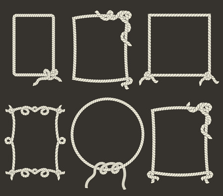 Decoratieve touw frames op zwarte achtergrond Stock Illustratie