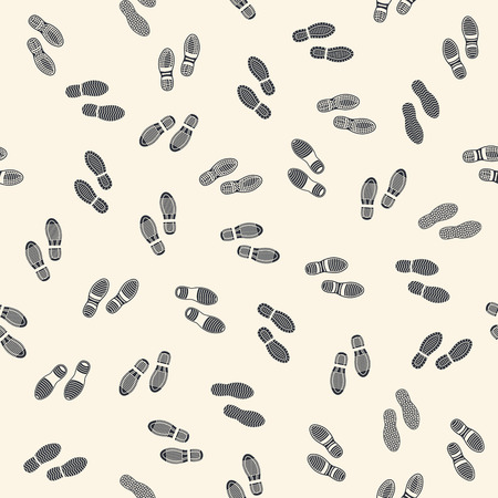 dirty feet: Seamless background with human footprints
