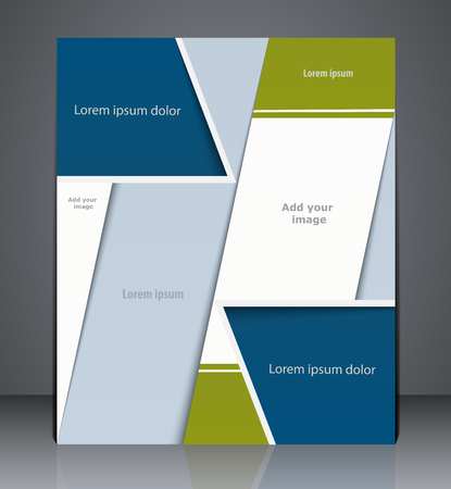 advertisment: Vector layout business brochure, magazine cover, web, or corporate design template advertisment in blue and green colors
