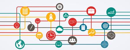 Netwerkverbindingen, informatiestroom met pictogrammen in horizontale positie. Stock Illustratie