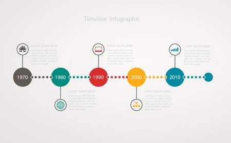 time line: Infographic timeline with icons, step by step anual structure