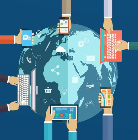 Interacción manos usando el teclado y aplicaciones móviles en la pantalla. Análisis de Internet, el trabajo en red, la interacción ordenador digital de las tecnologías de todo el mundo Foto de archivo - 37178408