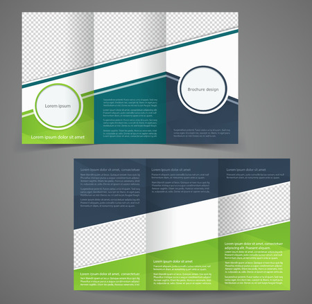 Tri-fold business brochure template, two-sided template design,  mock-up cover in dark blue with green colors