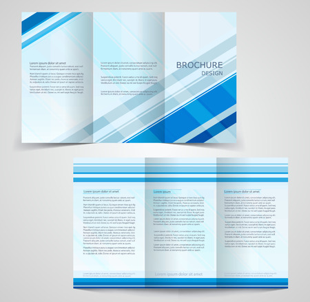 two way: Tri-fold business brochure template, two-sided template design,  mock-up cover in blue  colors