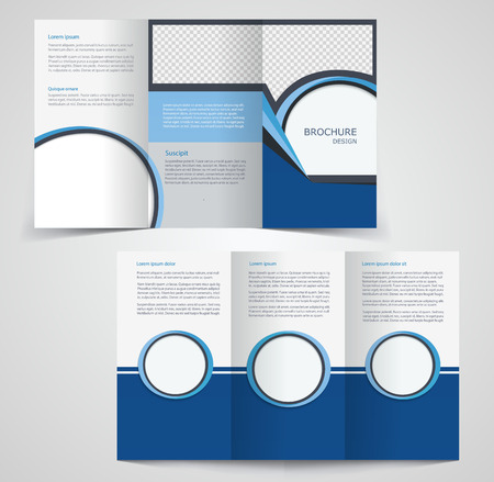 fold: Tri-fold business brochure template, two-sided template design,  mock-up cover in blue  colors
