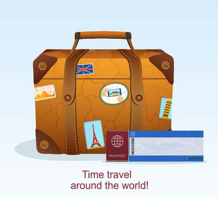 Vintage Leather Suitcase with Travel Sticker, Ticket with a Passport to Travel Vector
