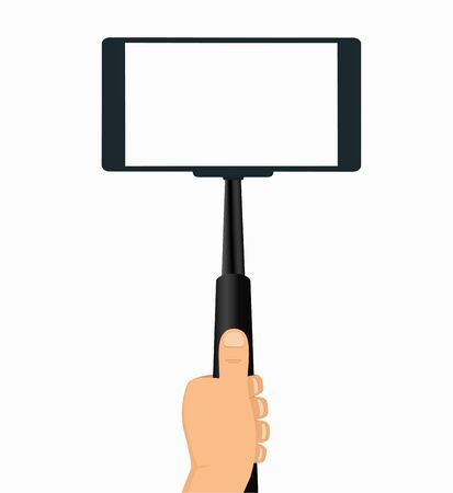 selfie: Monopod in Hand Taking Selfie on a Mobile Phone, Tool For Phones   on White Background Illustration